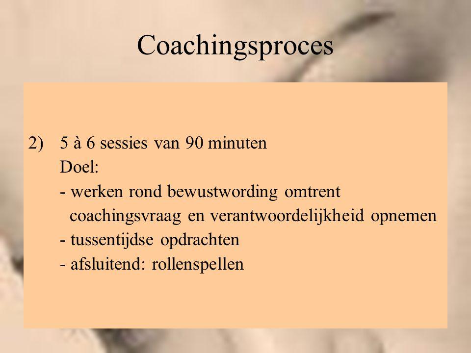 Coachingsproces 2)5 à 6 sessies van 90 minuten Doel: - werken rond bewustwording omtrent coachingsvraag en verantwoordelijkheid opnemen - tussentijdse