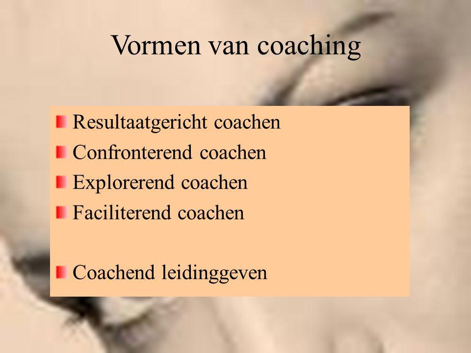Vormen van coaching Resultaatgericht coachen Confronterend coachen Explorerend coachen Faciliterend coachen Coachend leidinggeven