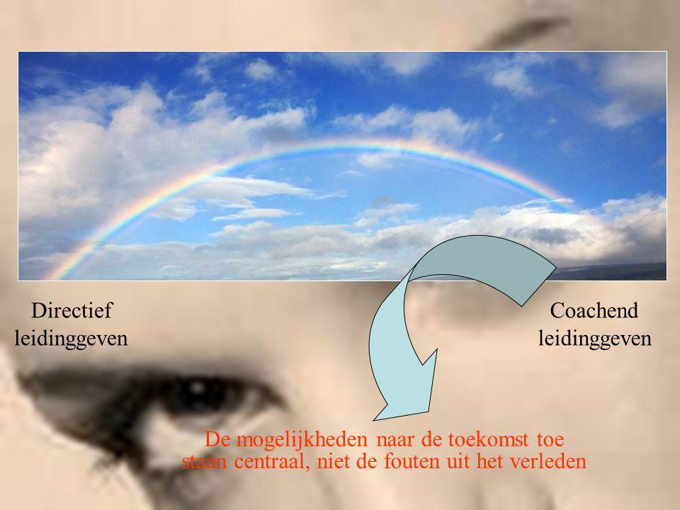 Coachend leidinggeven Directief leidinggeven De mogelijkheden naar de toekomst toe staan centraal, niet de fouten uit het verleden