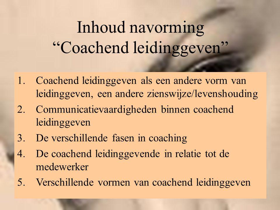 """Inhoud navorming """"Coachend leidinggeven"""" 1.Coachend leidinggeven als een andere vorm van leidinggeven, een andere zienswijze/levenshouding 2.Communica"""