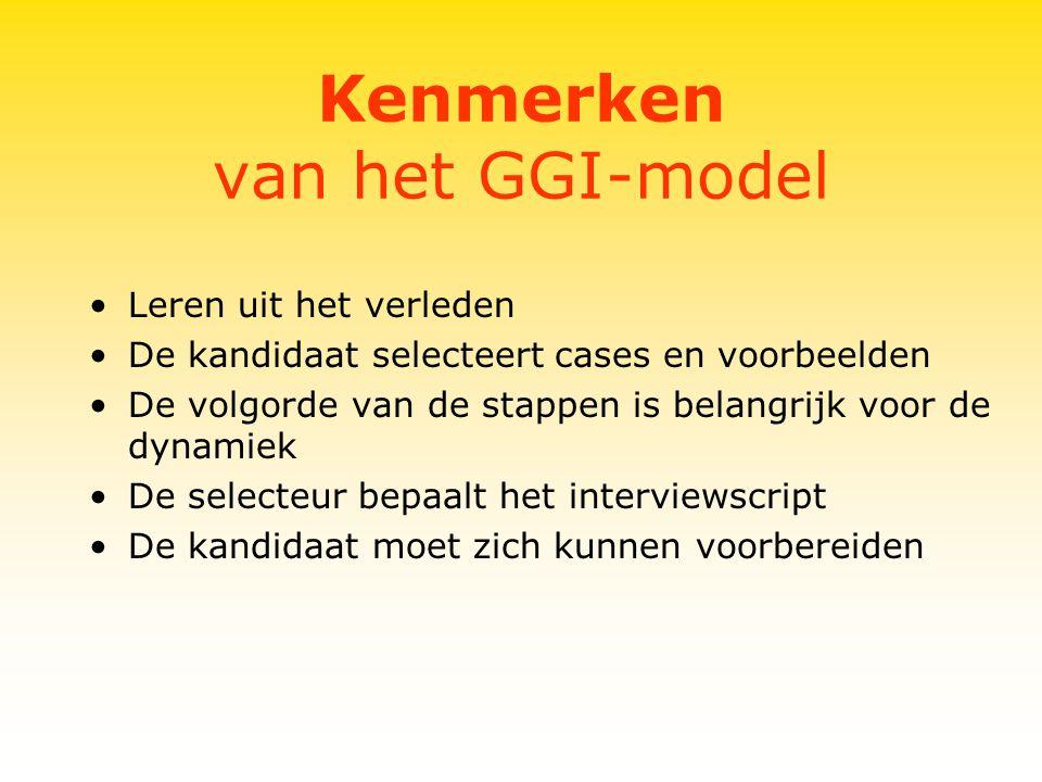 Kenmerken van het GGI-model Leren uit het verleden De kandidaat selecteert cases en voorbeelden De volgorde van de stappen is belangrijk voor de dynamiek De selecteur bepaalt het interviewscript De kandidaat moet zich kunnen voorbereiden
