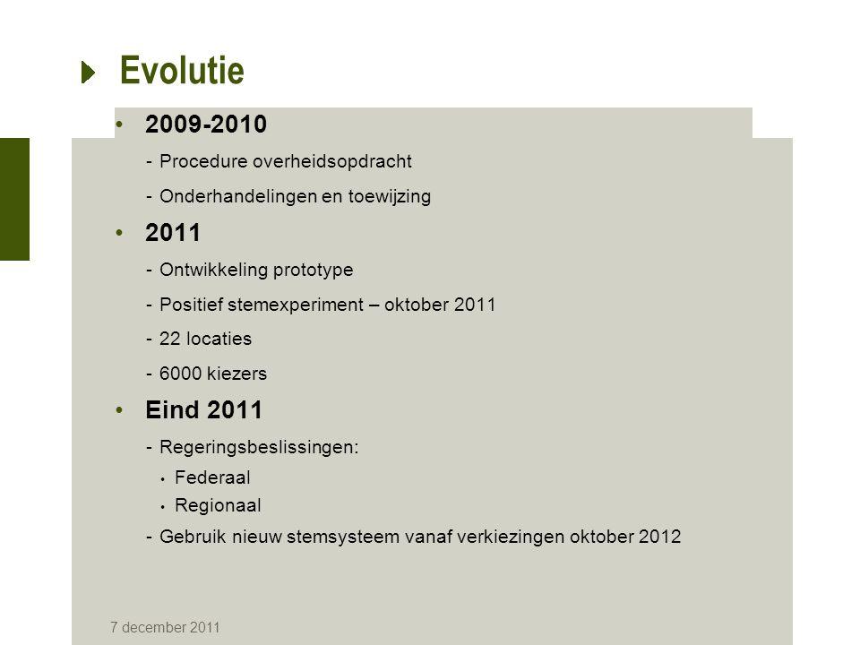 7 december 2011 Evolutie 2009-2010 -Procedure overheidsopdracht -Onderhandelingen en toewijzing 2011 -Ontwikkeling prototype -Positief stemexperiment