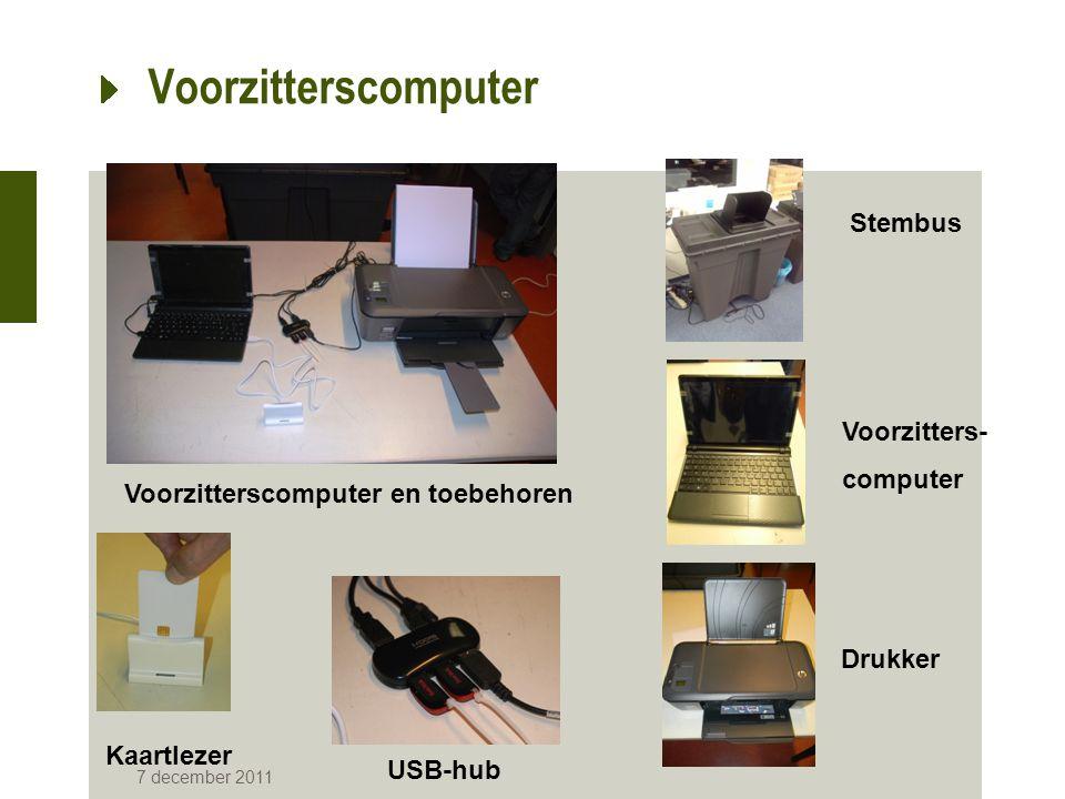 Voorzitterscomputer 7 december 2011 Voorzitterscomputer en toebehoren Stembus Voorzitters- computer Drukker Kaartlezer USB-hub