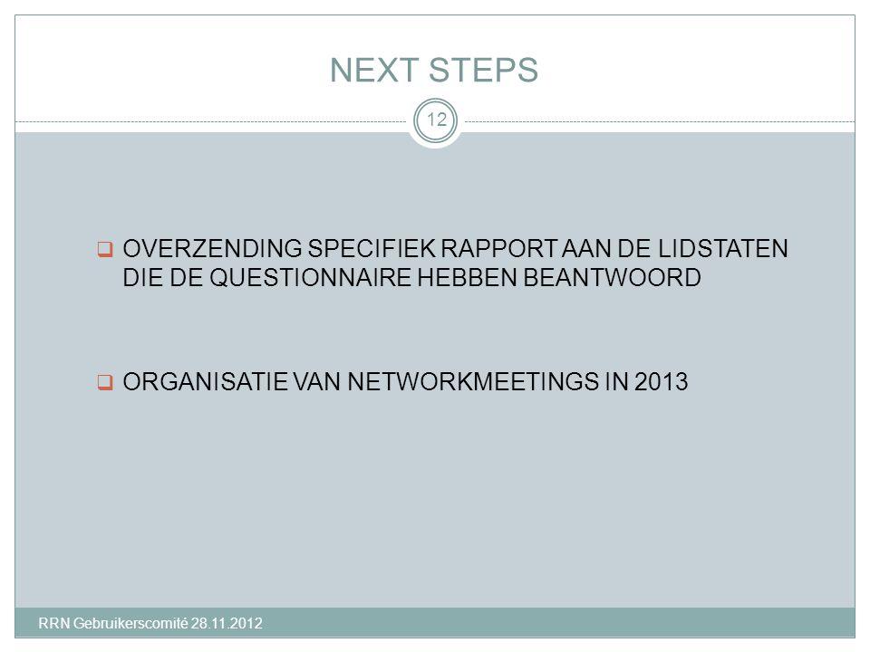 NEXT STEPS  OVERZENDING SPECIFIEK RAPPORT AAN DE LIDSTATEN DIE DE QUESTIONNAIRE HEBBEN BEANTWOORD  ORGANISATIE VAN NETWORKMEETINGS IN 2013 12 RRN Gebruikerscomité 28.11.2012