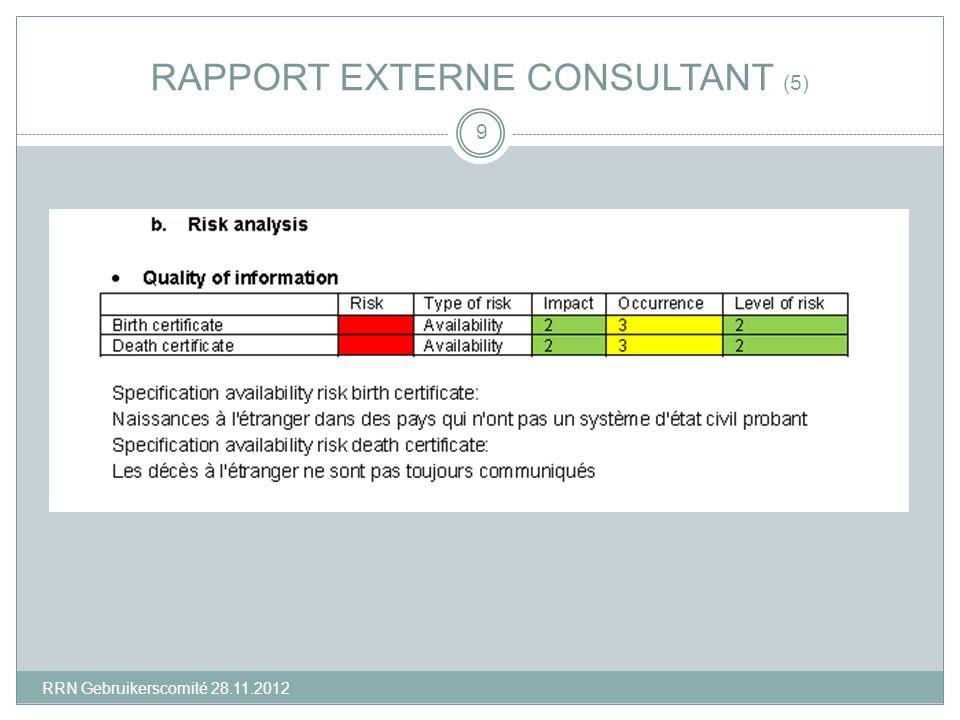 RAPPORT EXTERNE CONSULTANT (5) 9 RRN Gebruikerscomité 28.11.2012