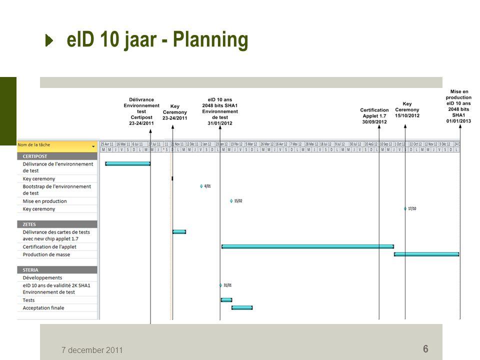 eID 10 jaar - Planning 7 december 2011 6