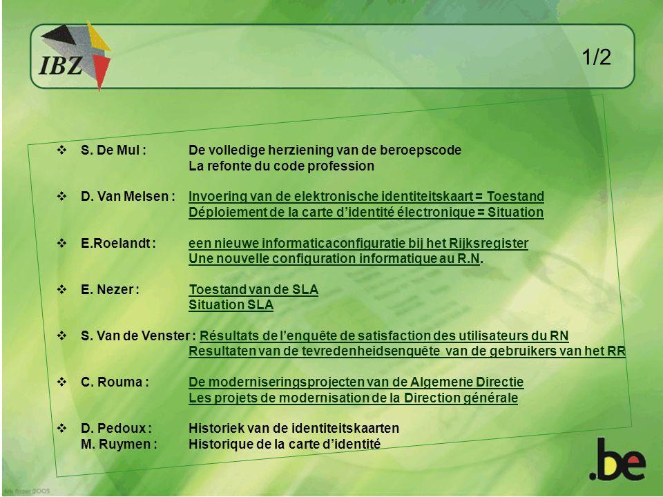  S. De Mul : De volledige herziening van de beroepscode La refonte du code profession  D.