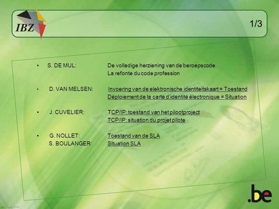 1/3 S. DE MUL: De volledige herziening van de beroepscode La refonte du code profession D. VAN MELSEN: Invoering van de elektronische identiteitskaart