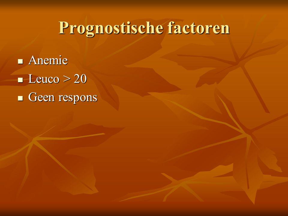 Prognostische factoren Anemie Anemie Leuco > 20 Leuco > 20 Geen respons Geen respons