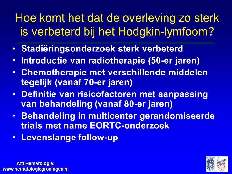 Afd Hematologie; www.hematologiegroningen.nl Hoe komt het dat de overleving zo sterk is verbeterd bij het Hodgkin-lymfoom? Stadiëringsonderzoek sterk