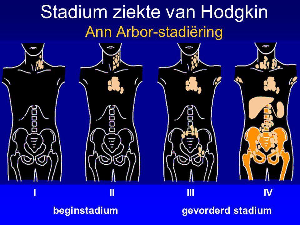 beginstadium Stadium ziekte van Hodgkin Ann Arbor-stadiëring gevorderd stadium IIIIIIIV A = geen symptomen B = koorts (onverklaard) profuus nachtzweten gewichtsverlies >10%