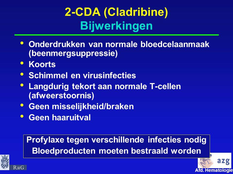 Afd. Hematologie umcg 2-CDA (Cladribine) Bijwerkingen Onderdrukken van normale bloedcelaanmaak (beenmergsuppressie) Koorts Schimmel en virusinfecties
