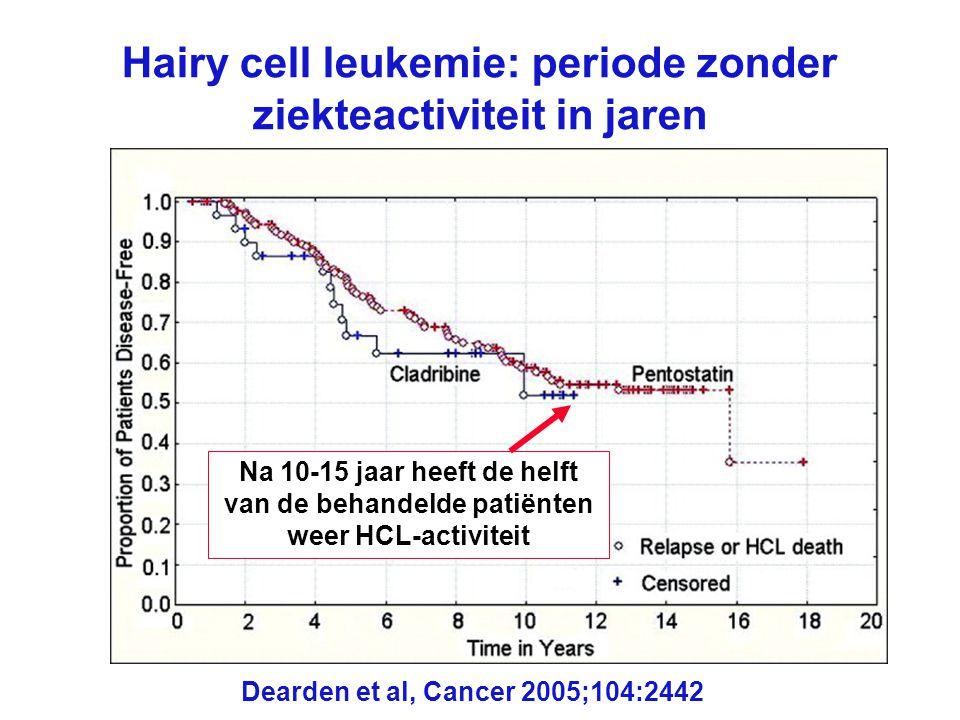 Hairy cell leukemie: periode zonder ziekteactiviteit in jaren Dearden et al, Cancer 2005;104:2442 Na 10-15 jaar heeft de helft van de behandelde patië