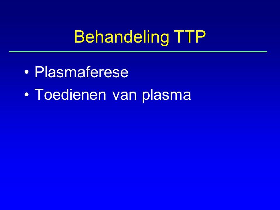 Behandeling TTP Plasmaferese Toedienen van plasma