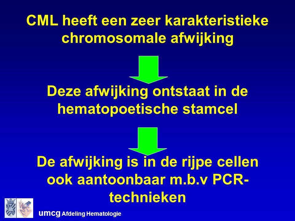 umcg Afdeling Hematologie CML heeft een zeer karakteristieke chromosomale afwijking Deze afwijking ontstaat in de hematopoetische stamcel De afwijking