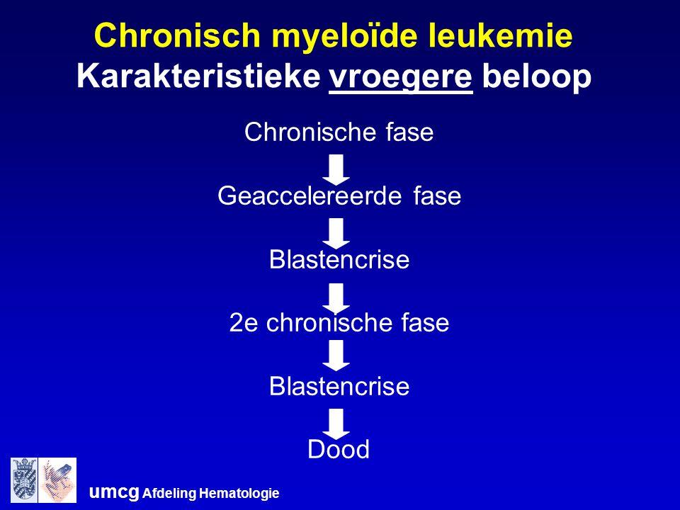 umcg Afdeling Hematologie Chronisch myeloïde leukemie Karakteristieke vroegere beloop Chronische fase Geaccelereerde fase Blastencrise 2e chronische f