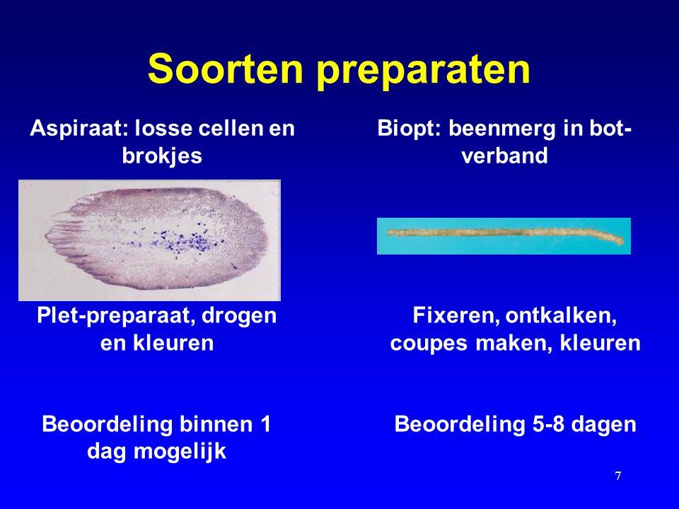 7 Soorten preparaten Plet-preparaat, drogen en kleuren Beoordeling binnen 1 dag mogelijk Aspiraat: losse cellen en brokjes Biopt: beenmerg in bot- ver