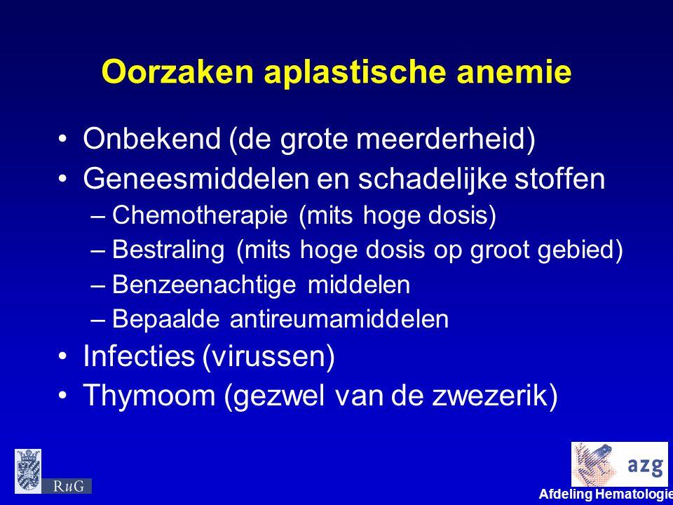 Afdeling Hematologie umcg Oorzaken aplastische anemie Onbekend (de grote meerderheid) Geneesmiddelen en schadelijke stoffen –Chemotherapie (mits hoge
