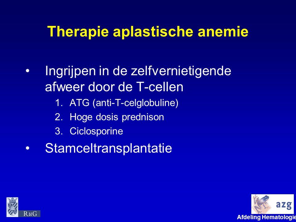 Afdeling Hematologie umcg Therapie aplastische anemie Ingrijpen in de zelfvernietigende afweer door de T-cellen 1.ATG (anti-T-celglobuline) 2.Hoge dos