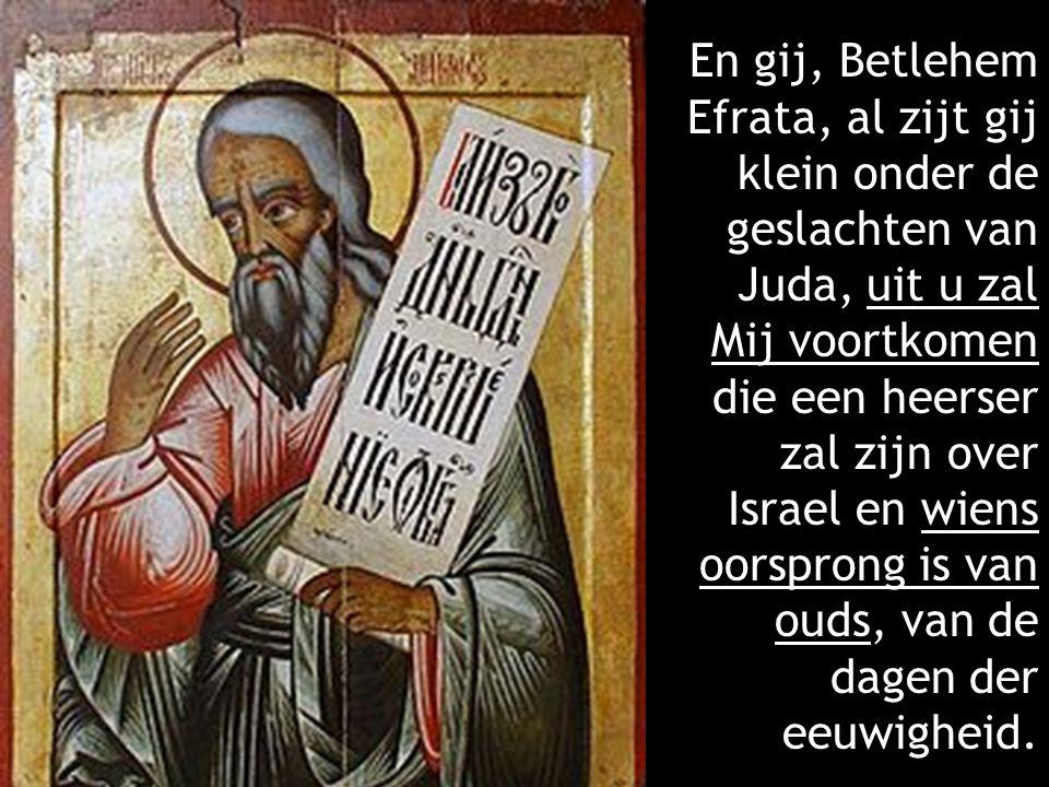 En gij, Betlehem Efrata, al zijt gij klein onder de geslachten van Juda, uit u zal Mij voortkomen die een heerser zal zijn over Israel en wiens oorspr