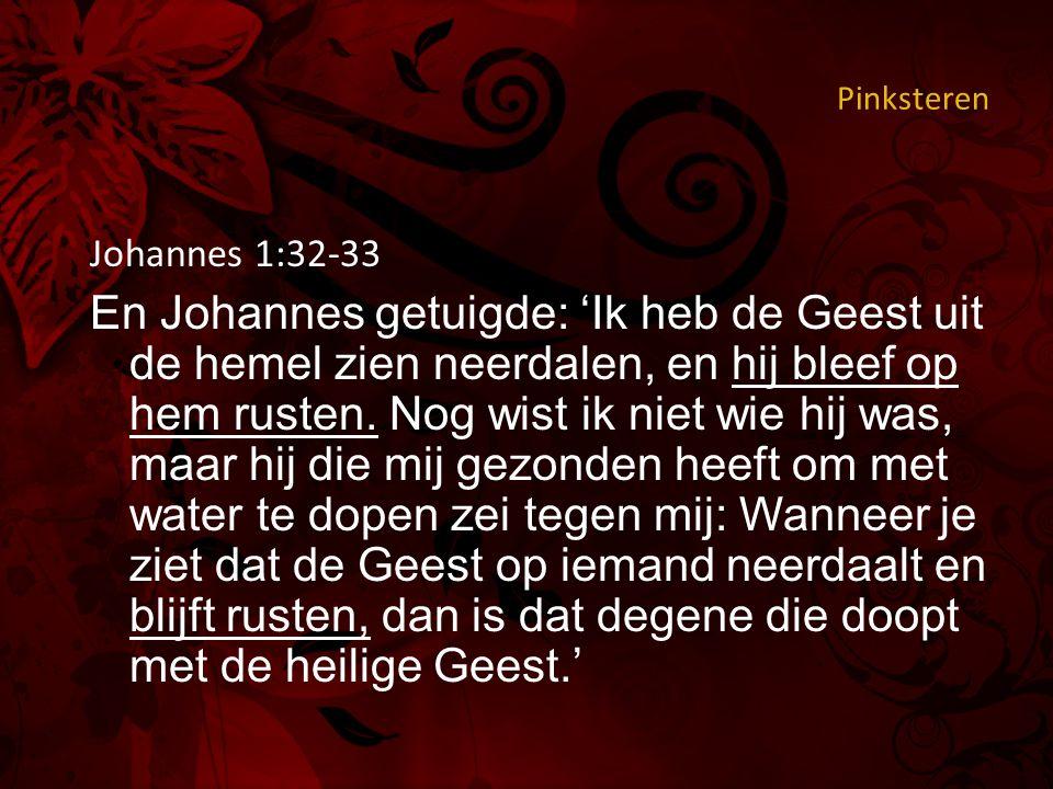 Pinksteren Johannes 1:32-33 En Johannes getuigde: 'Ik heb de Geest uit de hemel zien neerdalen, en hij bleef op hem rusten.