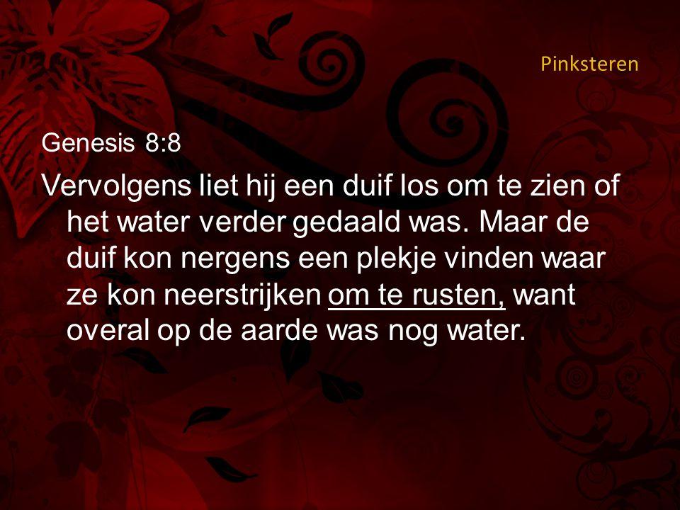 Pinksteren Genesis 8:8 Vervolgens liet hij een duif los om te zien of het water verder gedaald was.