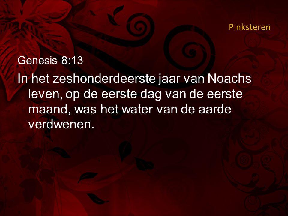 Pinksteren Genesis 8:13 In het zeshonderdeerste jaar van Noachs leven, op de eerste dag van de eerste maand, was het water van de aarde verdwenen.