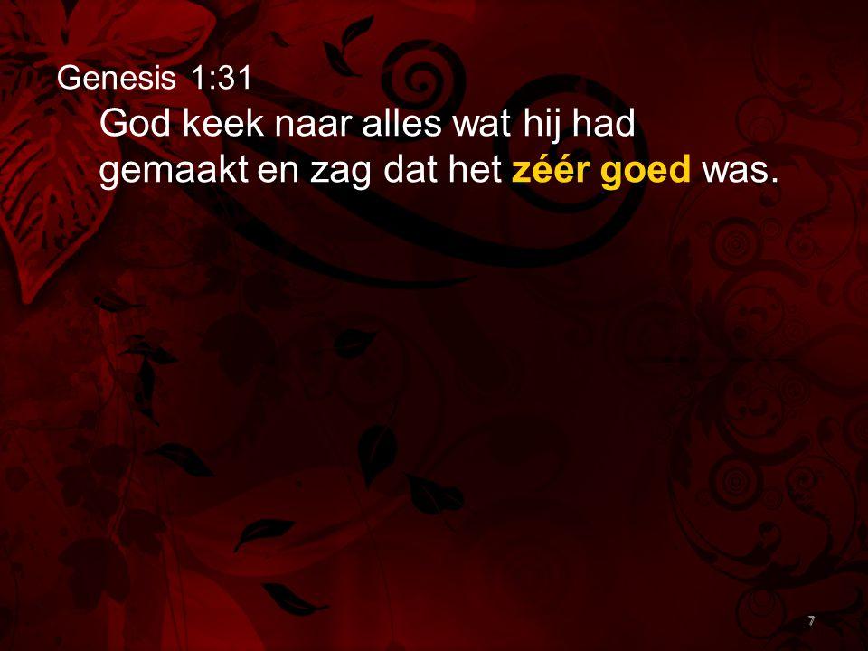 7 Genesis 1:31 God keek naar alles wat hij had gemaakt en zag dat het zéér goed was. 7