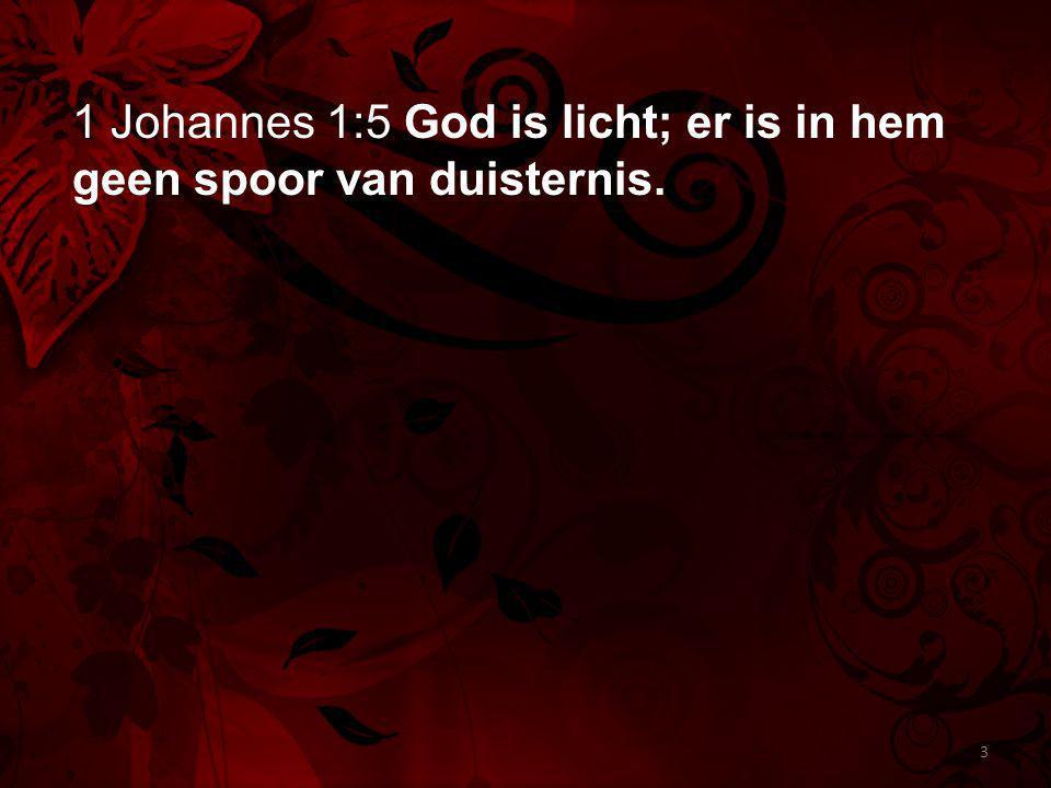 1 Johannes 1:5 God is licht; er is in hem geen spoor van duisternis. 3