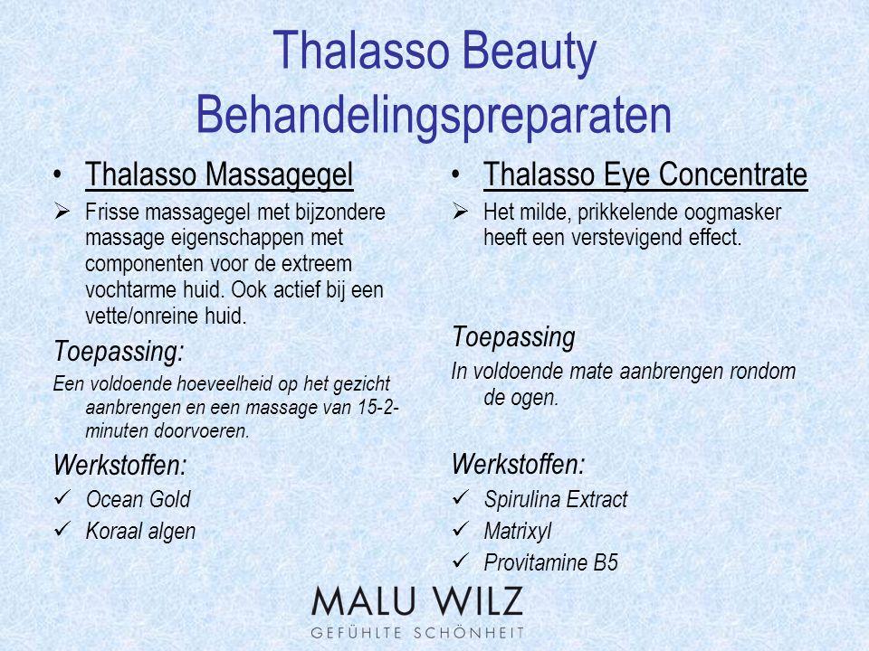 Thalasso Beauty Werkstofverklaring Matrixyl  Natuurlijk Peptid, die positief op de collageensynthese werkt.