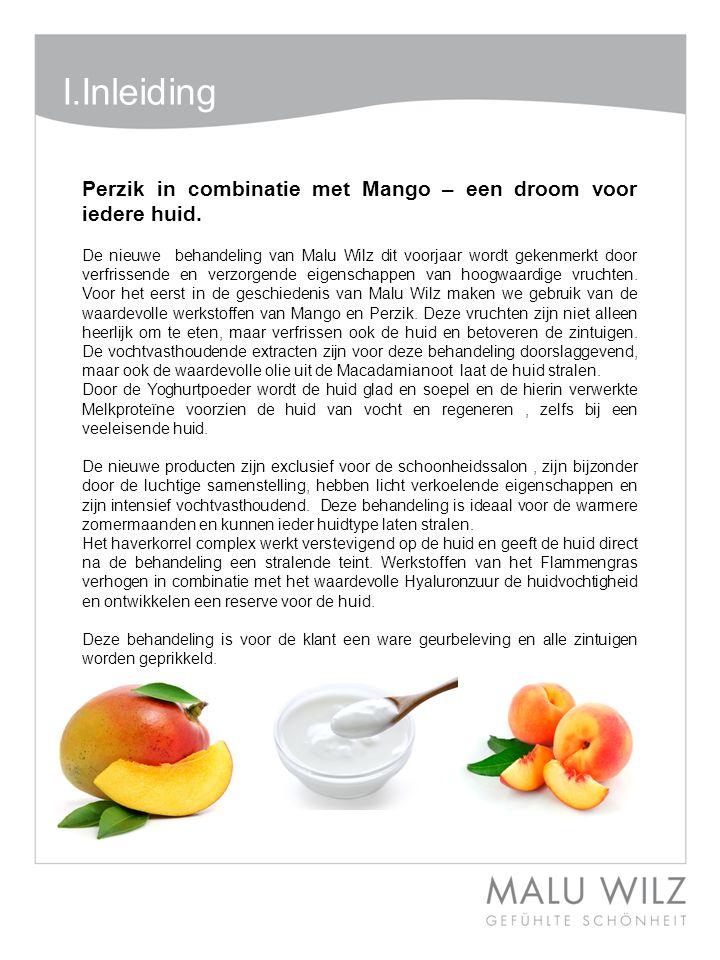 Body- Behandlung Wertvolle Momente für Körper und Geist Moodbild zum Thema I.Inleiding Perzik in combinatie met Mango – een droom voor iedere huid. De