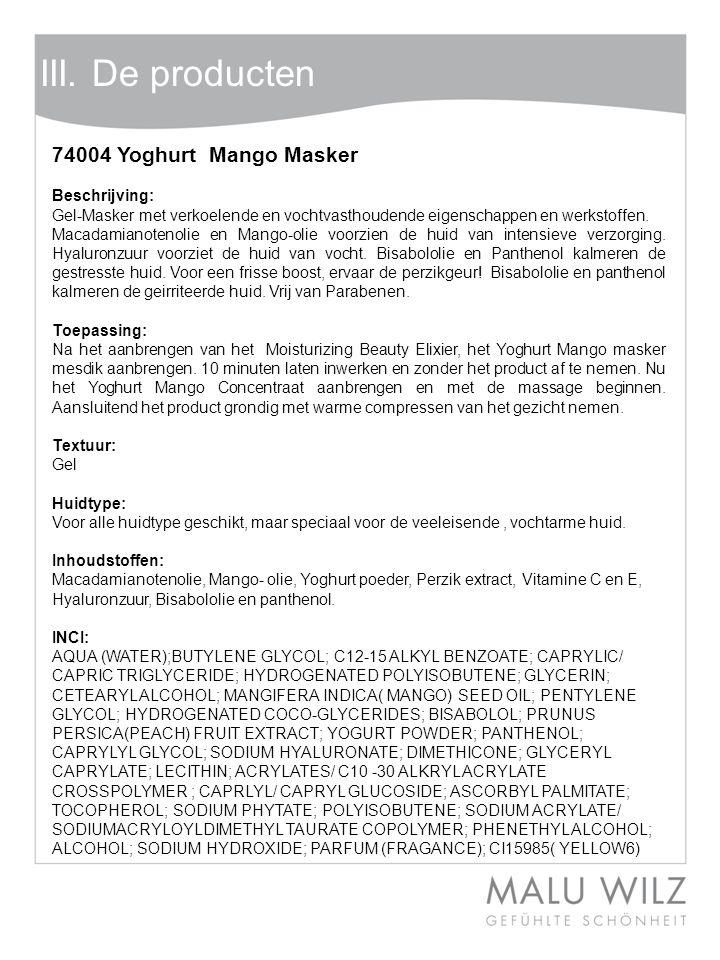 Body- Behandlung Wertvolle Momente für Körper und Geist Moodbild zum Thema III. De producten 74004 Yoghurt Mango Masker Beschrijving: Gel-Masker met v