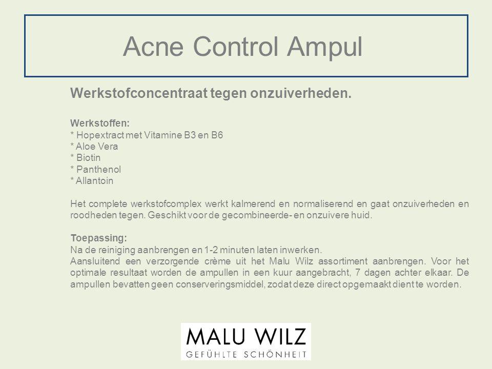 Acne Control Ampul Werkstofconcentraat tegen onzuiverheden. Werkstoffen: * Hopextract met Vitamine B3 en B6 * Aloe Vera * Biotin * Panthenol * Allanto