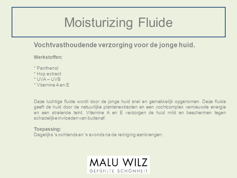 Moisturizing Fluide Vochtvasthoudende verzorging voor de jonge huid. Werkstoffen: * Panthenol * Hop extract * UVA – UVB * Vitamine A en E Deze luchtig