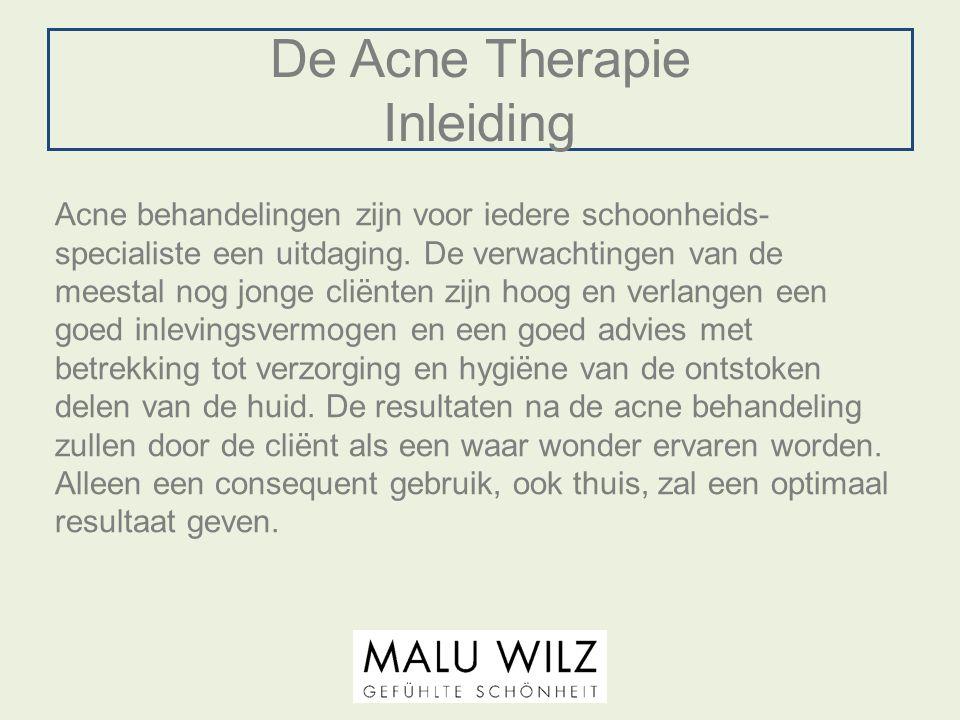 De Acne Therapie Inleiding Acne behandelingen zijn voor iedere schoonheids- specialiste een uitdaging. De verwachtingen van de meestal nog jonge cliën