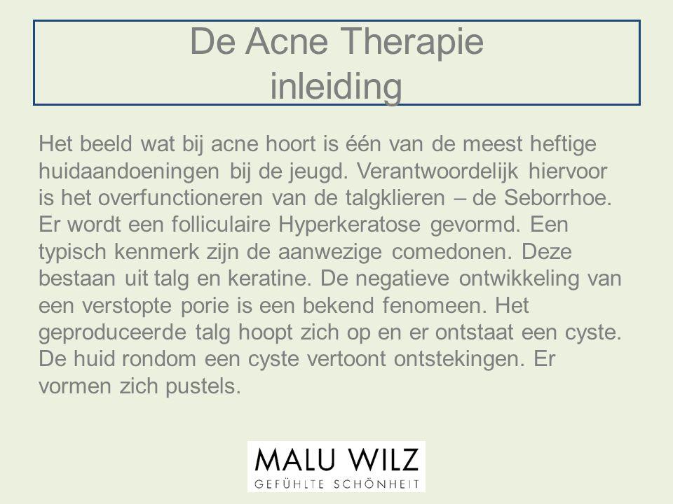 De Acne Therapie inleiding Het beeld wat bij acne hoort is één van de meest heftige huidaandoeningen bij de jeugd. Verantwoordelijk hiervoor is het ov