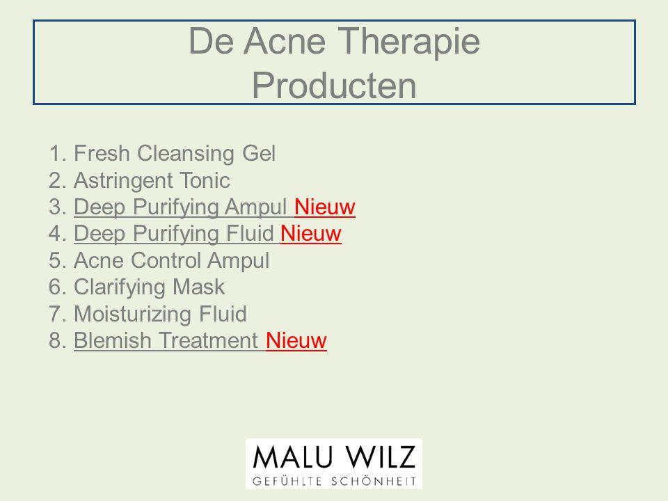 De Acne Therapie Producten 1.Fresh Cleansing Gel 2.Astringent Tonic 3.Deep Purifying Ampul Nieuw 4.Deep Purifying Fluid Nieuw 5.Acne Control Ampul 6.C