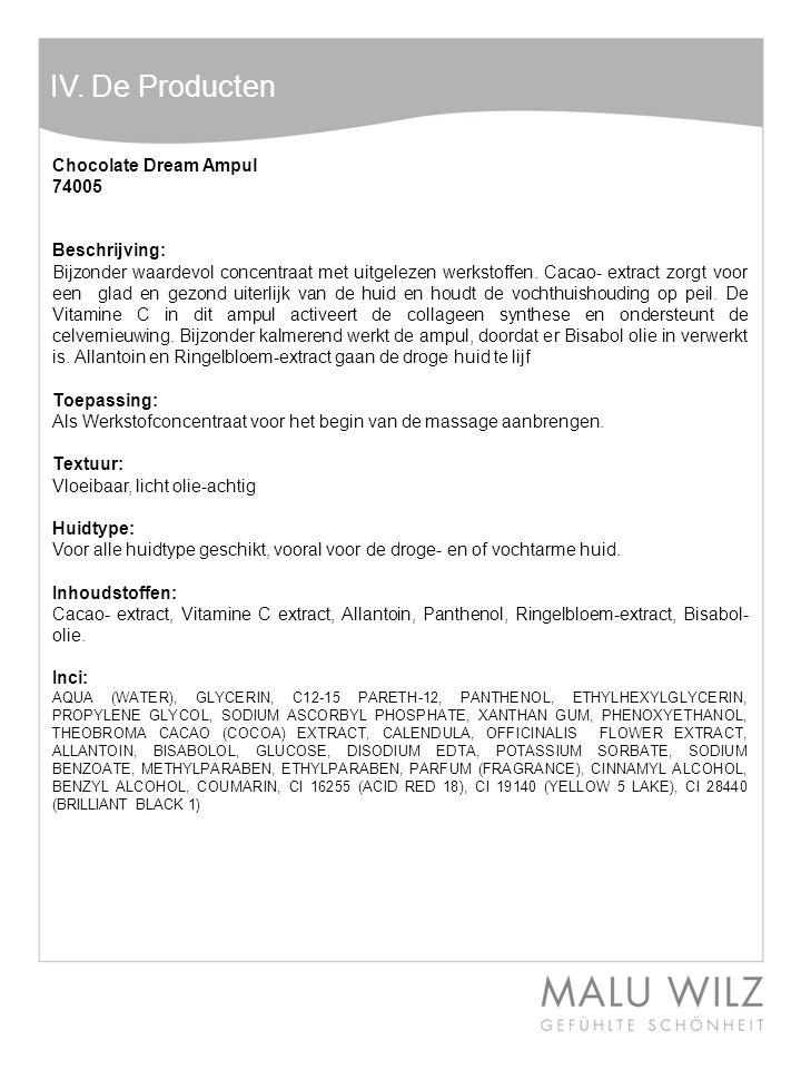 Body- Behandlung Wertvolle Momente für Körper und Geist Moodbild zum Thema IV. De Producten Chocolate Dream Ampul 74005 Beschrijving: Bijzonder waarde