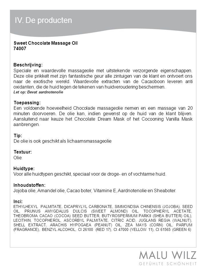 Body- Behandlung Wertvolle Momente für Körper und Geist Moodbild zum Thema IV. De producten Sweet Chocolate Massage Oil 74007 Beschrijving: Speciale e