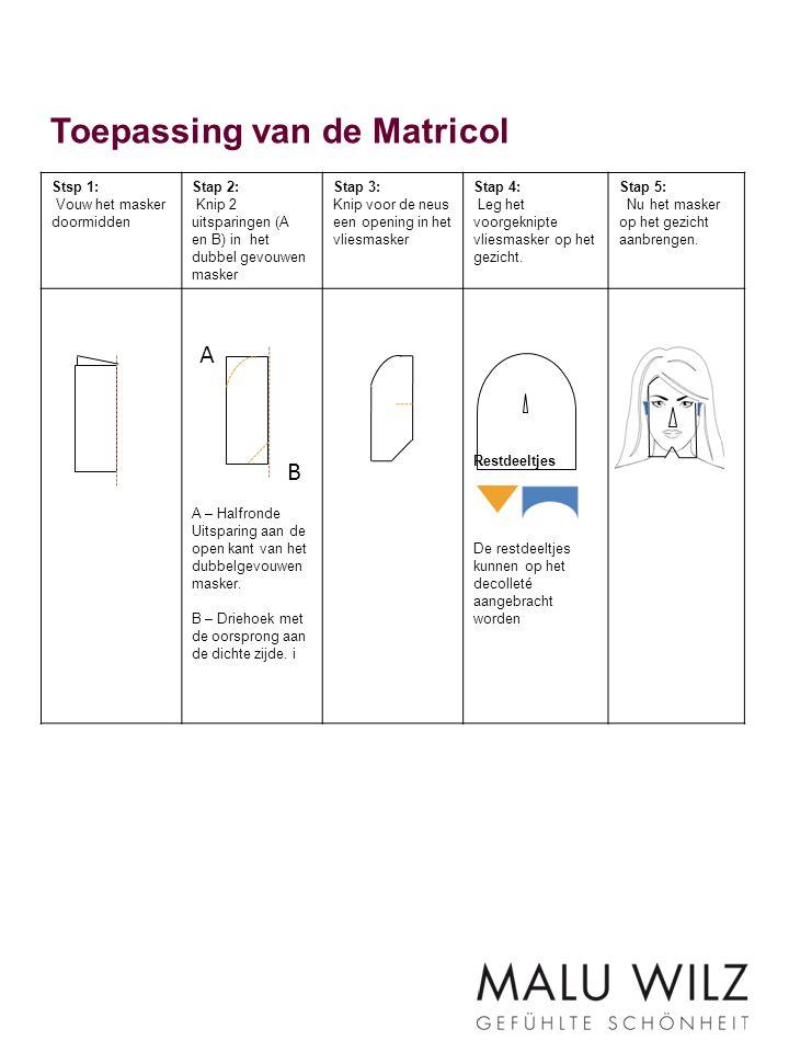 Toepassing van de Matricol Stsp 1: Vouw het masker doormidden Stap 2: Knip 2 uitsparingen (A en B) in het dubbel gevouwen masker Stap 3: Knip voor de