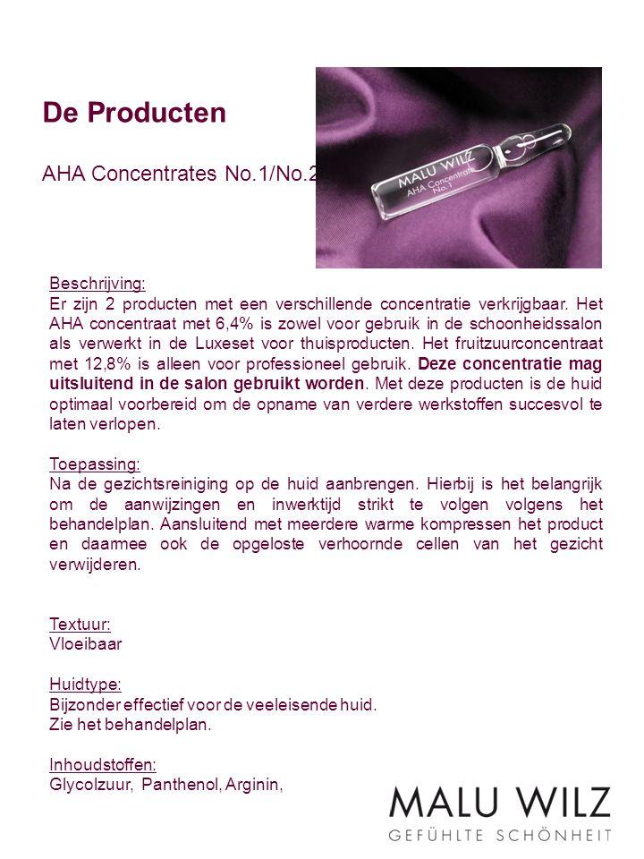 De Producten AHA Concentrates No.1/No.2 Beschrijving: Er zijn 2 producten met een verschillende concentratie verkrijgbaar. Het AHA concentraat met 6,4