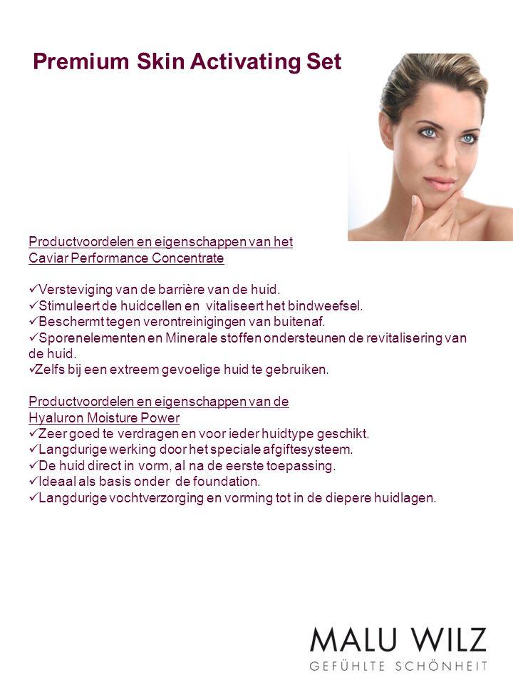 Premium Skin Activating Set Productvoordelen en eigenschappen van het Caviar Performance Concentrate Versteviging van de barrière van de huid. Stimule