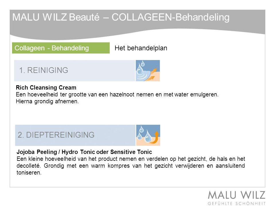 1. REINIGING 2. DIEPTEREINIGING Rich Cleansing Cream Een hoeveelheid ter grootte van een hazelnoot nemen en met water emulgeren. Hierna grondig afneme