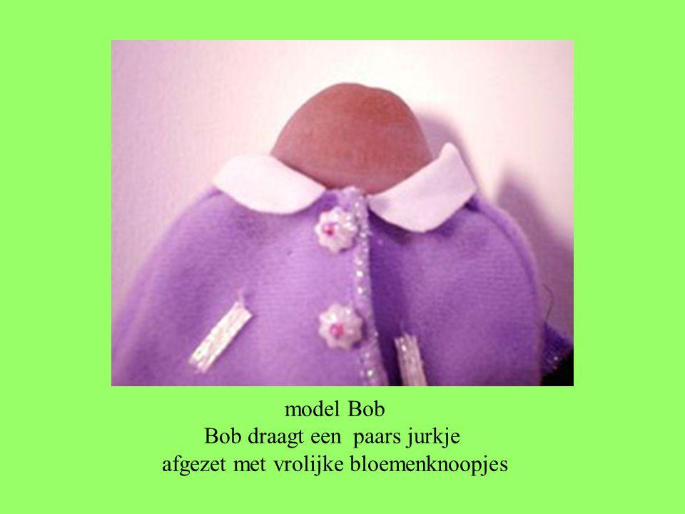 model Bob Bob draagt een paars jurkje afgezet met vrolijke bloemenknoopjes