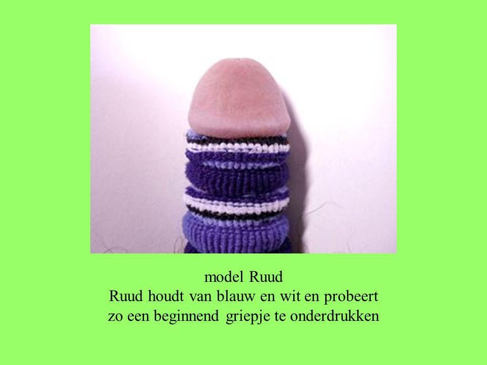 model Ruud Ruud houdt van blauw en wit en probeert zo een beginnend griepje te onderdrukken