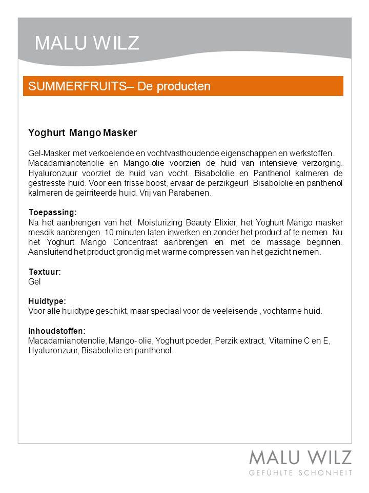 Body- Behandlung Wertvolle Momente für Körper und Geist Moodbild zum Thema MALU WILZ Yoghurt Mango Massage Concentraat Massage-product in een nieuwe creme/gel textuur.