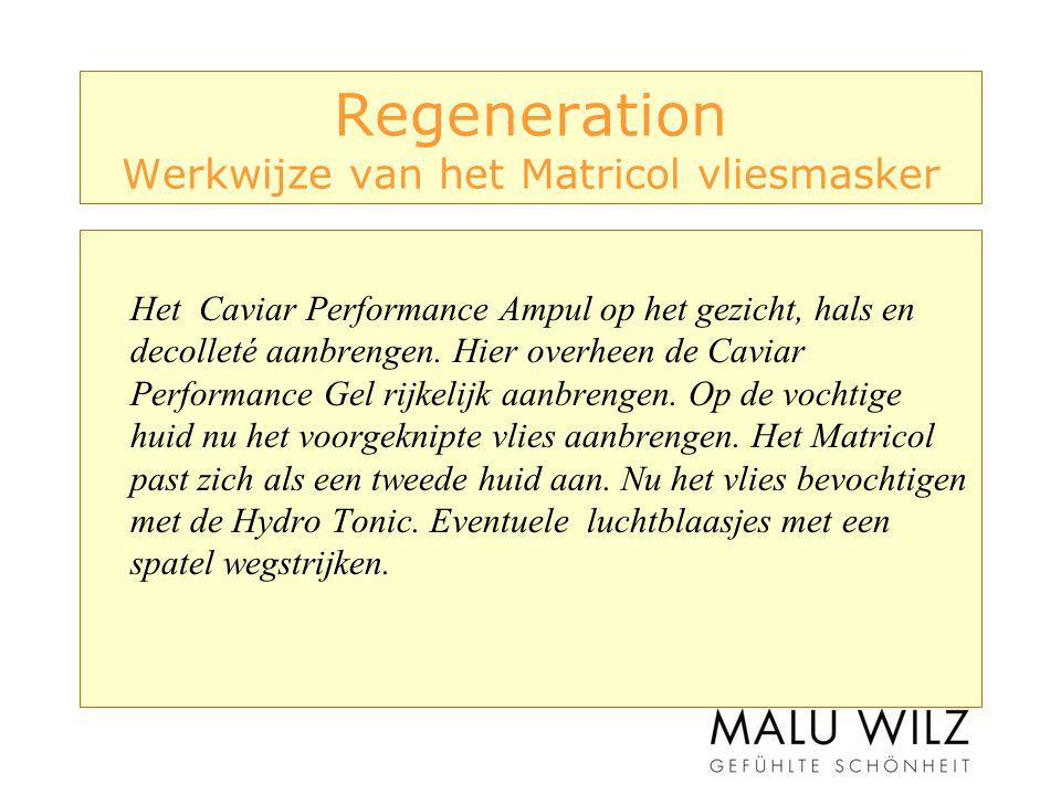 Regeneration Werkwijze van het Matricol vliesmasker Het Caviar Performance Ampul op het gezicht, hals en decolleté aanbrengen.