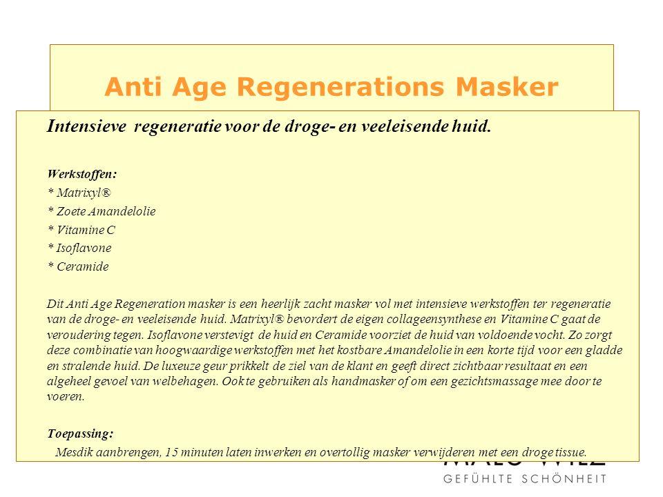 Anti Age Regenerations Masker Intensieve regeneratie voor de droge- en veeleisende huid.