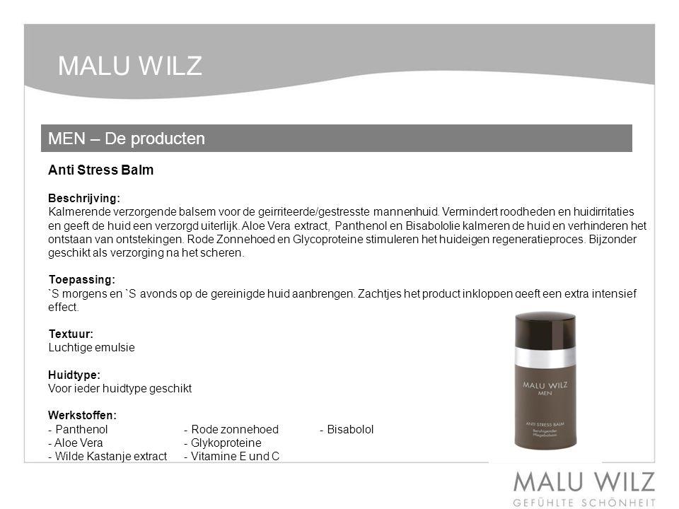 MALU WILZ MEN – De producten Anti Stress Balm Beschrijving: Kalmerende verzorgende balsem voor de geirriteerde/gestresste mannenhuid. Vermindert roodh