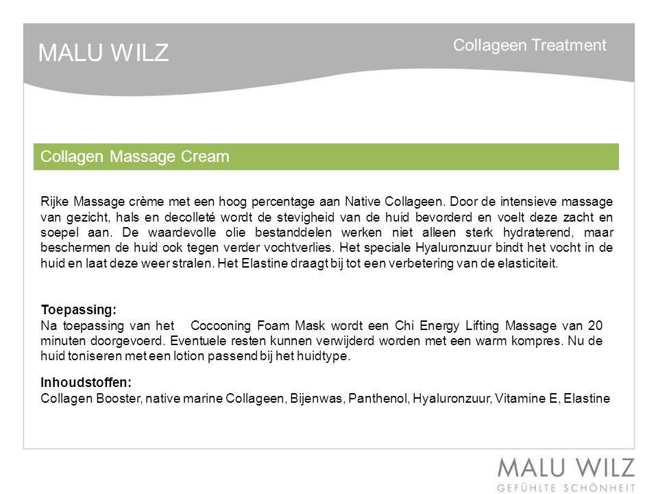 MALU WILZ Collagen Massage Cream Rijke Massage crème met een hoog percentage aan Native Collageen. Door de intensieve massage van gezicht, hals en dec